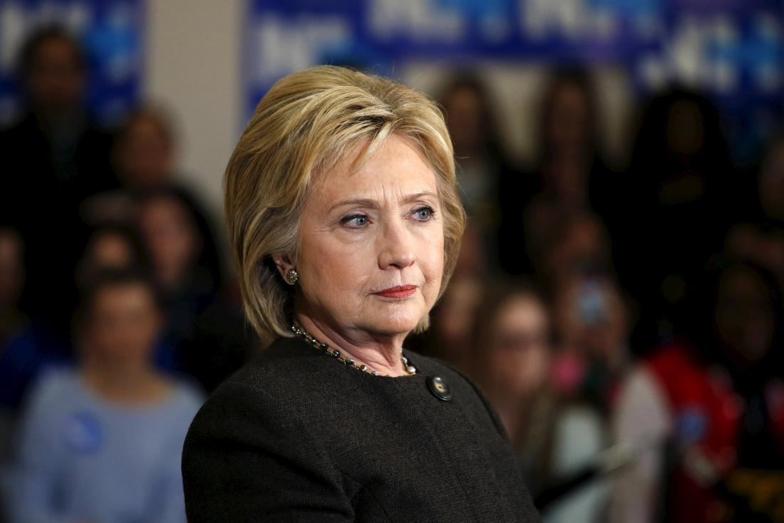 U.S. Democratic presidential candidate Hillary Clinton takes a question during a campaign rally in Derry, New Hampshire