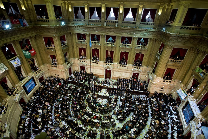 An elevated view of the Argentine National Congress during the inauguration of the new legislative session, in Buenos Aires, Argentina, Friday, March 1, 2013.  President Cristina Fernandez was on hand to inaugurate the 2013 opening session. (AP Photo/Victor R. Caivano)