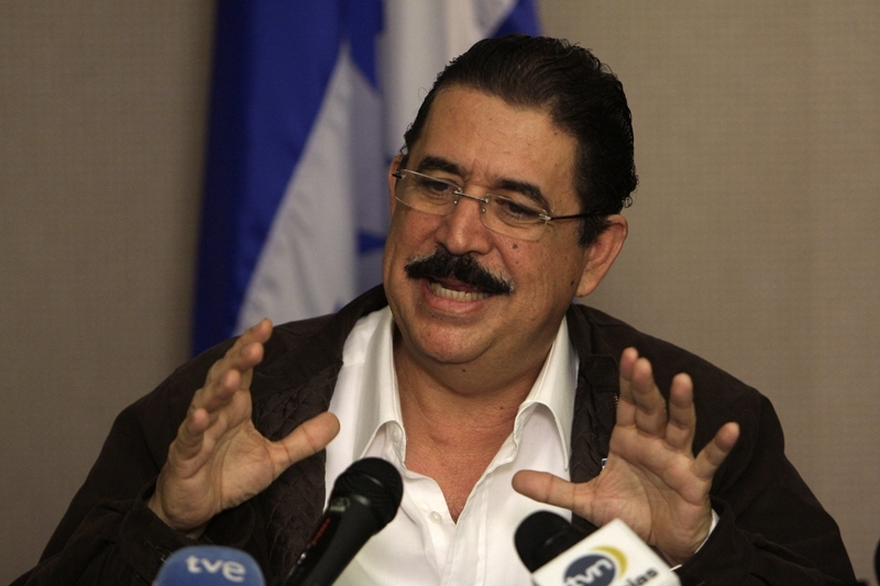 Honduras' ousted President Manuel Zelaya speaks during a press conference in Panama City, Thursday, July 2, 2009. The head of the Organization of American States, Jose Miguel Insulza, said he plans to travel to Honduras on Friday to insist on the restoration of Zelaya, who was ousted in a coup Sunday. (AP Photo/Arnulfo Franco)
