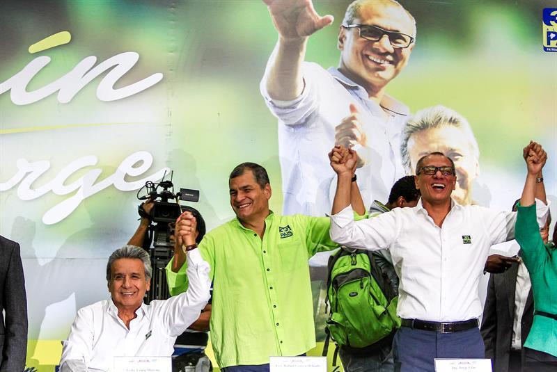 Lenín Moreno, Rafael Correa y Jorge Glas / Foto EFE