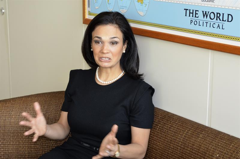 La vicepresidenta y canciller de Panamá, Isabel de Saint Malo, durante la entrevista con Efe en la sede de Naciones Unidas en Viena. EFE