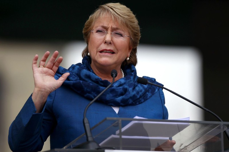 Former Chilean President and current presidential candidate Bachelet delivers a speech during a ceremony to commemorate the 40th anniversary of the military coup, in Santiago