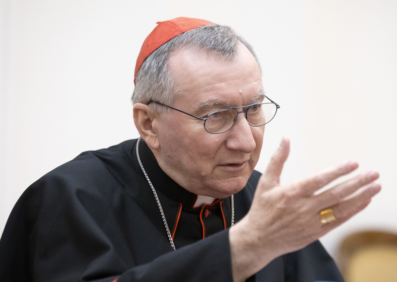 Cardinal Pietro Parolin, the Vatican's Secretary of State, speaks during his official visit with Belarussian Foreign Minister Vladimir Makei in Minsk, on March 13, 2015. Photo courtesy of REUTERS/Vasily Fedosenko *Editors: This photo may only be republished with RNS-VATICAN-LEAKS, originally transmitted on Dec. 7, 2015.