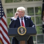 """US President Donald Trump announces his decision to withdraw the US from the Paris Climate Accords in the Rose Garden of the White House in Washington, DC, on June 1, 2017.      """"As of today, the United States will cease all implementation of the non-binding Paris accord and the draconian financial and economic burdens the agreement imposes on our country,"""" Trump said. / AFP PHOTO / SAUL LOEB"""
