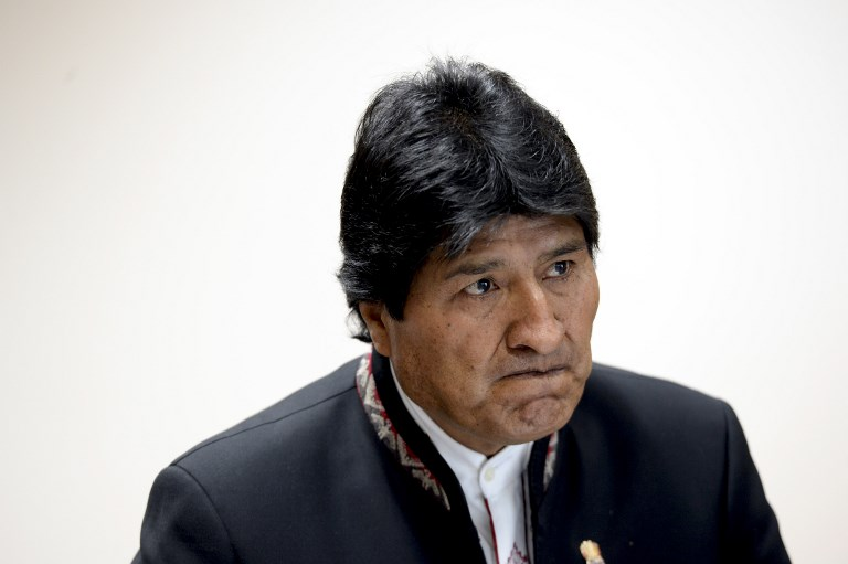 Bolivian President Evo Morales attends a meeting at the European Union Council building in Brussels, on June 7, 2017. / AFP PHOTO / THIERRY CHARLIER