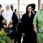 "Bosnian women from the ""Srebrenica Mothers Association"" arrive at the Court of Justice, for the verdict in a higher appeal against the Dutch State, in The Hague, on June 27, 2017. A civil court in The Hague will decide if the Dutch state can be held liable for the deaths of Bosnian men and boys killed by Bosnian Serb forces on July 13, 1995 after they were expelled from a UN safe haven. / AFP PHOTO / ANP / Remko de Waal / Netherlands OUT"