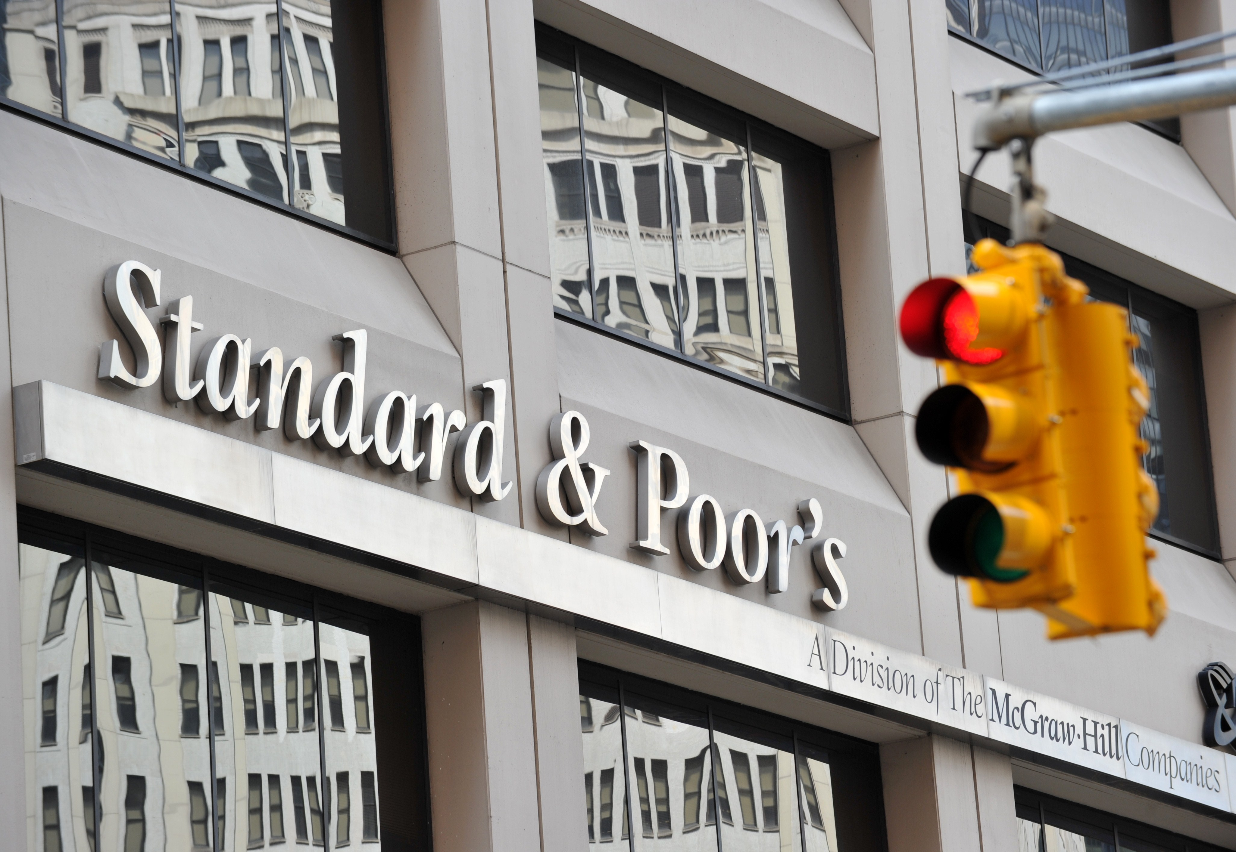 (FILES) - A picture taken on August 6, 2011 shows Standard & Poor's headquarters in the financial district of New York. Standard & Poor's has decided to downgrade France's top-notch credit rating but will spare Germany, Belgium, Luxembourg and the Netherlands, an EU government source told AFP on January 13, 2012. AFP PHOTO / Stan HONDA