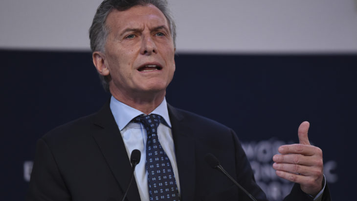 Argentina's President Mauricio Macri speaks during the World Economic Forum on Latin America, in Buenos Aires on April 6, 2017. Workers have vowed a general strike in recession-hit Argentina on Thursday, drawing complaints from conservative President Mauricio Macri as he hosts leaders and businesspeople for the economic forum. / AFP PHOTO / EITAN ABRAMOVICH