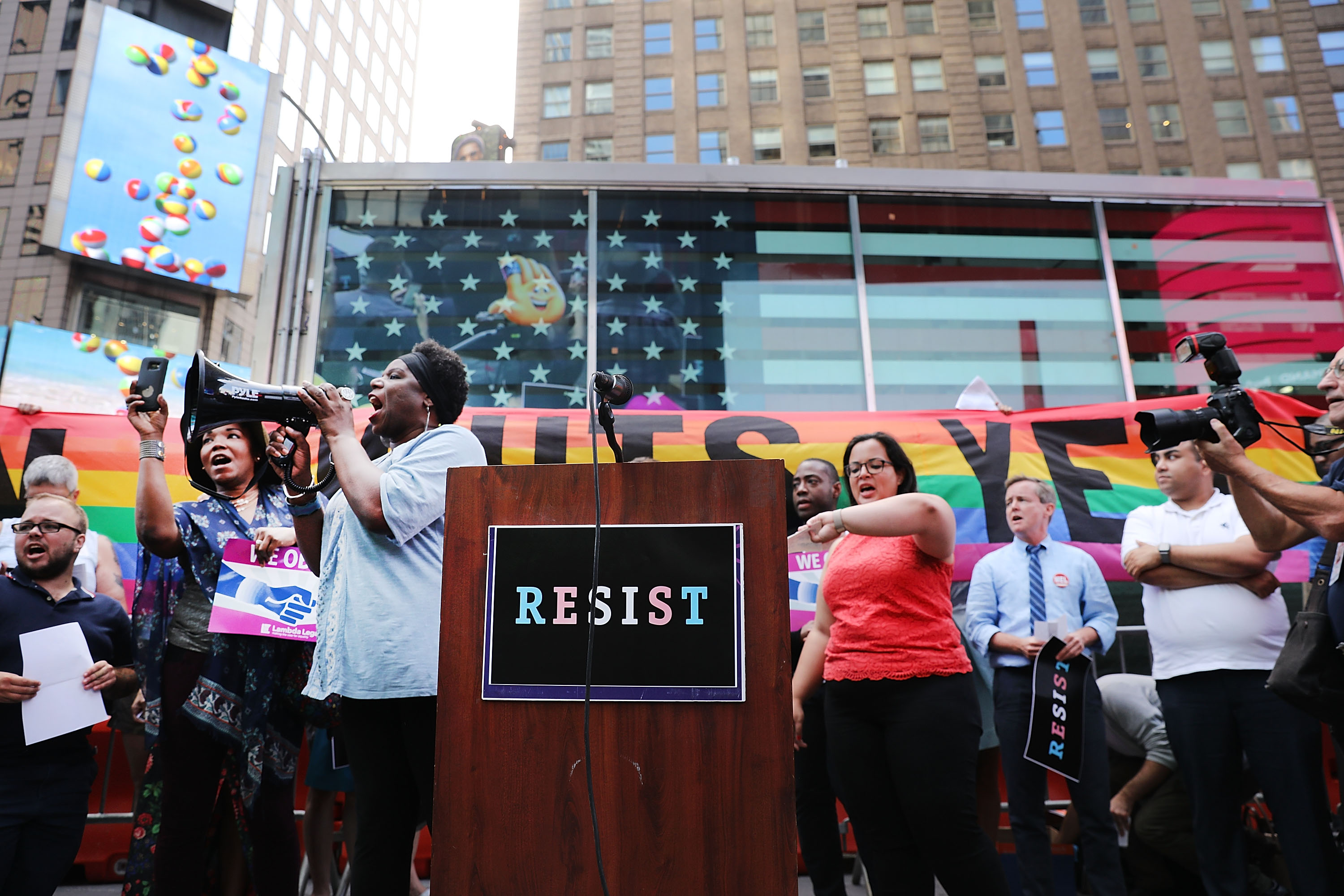 Anti-Trump Protesters Demonstrate In Times Square Against Trump Announcement Of Banning LGBT Service Members