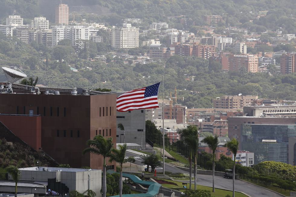 A view shows the U.S. embassy building in Caracas