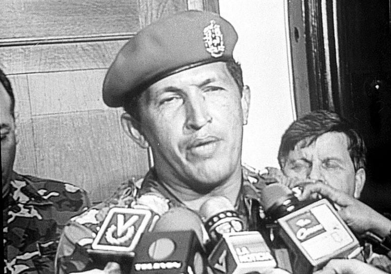 Teniente Coronel Hugo Chávez Frías, en la intentona golpista del 4 de Febrero de 1992