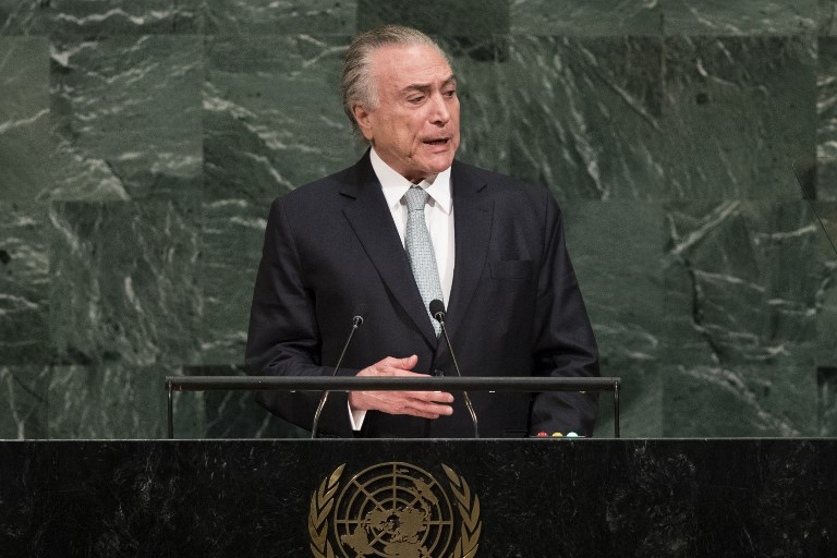 NEW YORK, NY - SEPTEMBER 19: President of Brazil Michel Temer addresses the United Nations General Assembly at UN headquarters, September 19, 2017 in New York City. Among the issues facing the assembly this year are North Korea's nuclear developement, violence against the Rohingya Muslim minority in Myanmar and the debate over climate change.   Drew Angerer/Getty Images/AFP