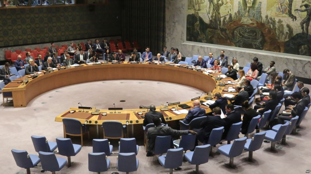 The United Nations Security Council hold a meeting on North Korea, Tuesday Aug. 29, 2017 at U.N. headquarters. (AP Photo/Bebeto Matthews)