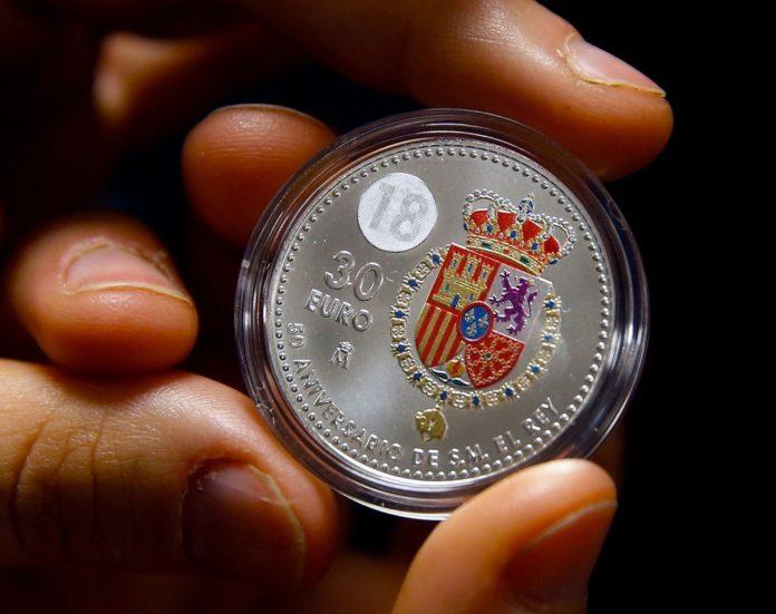 GRAF1937 MADRID 15 12 2017 -Detalle de la moneda conmemorativa que se va a emitir con motivo del quincuagesimo aniversario del nacimiento de Su Majestad el Rey Don Felipe VI hoy en la Fabrica Nacional de Moneda y Timbre EFE Paco Campos