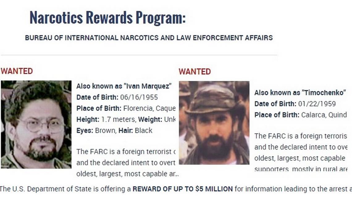El Departamento de Estado de EEUU ofrece una recompensa por $5 millones por los ex jefes guerrilleros 'Iván Márquez' y 'Timochenko' (der.) Departamento de Estado de EEUU /Foto: elnuevoherald