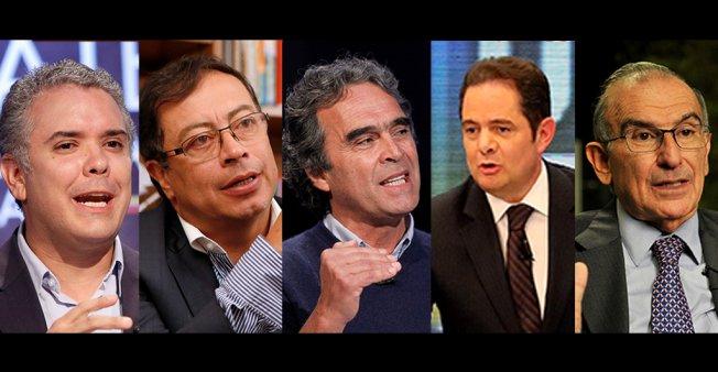 De izquierda a derecha: Iván Duque, Gustavo Petro, Sergio Fajardo, Germán Vargas Lleras y Humberto De La Calle. foto: France 24