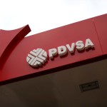 The corporate logo of the state oil company PDVSA is seen at a gas station in Caracas, Venezuela March 22, 2017. REUTERS/Carlos Garcia Rawlins