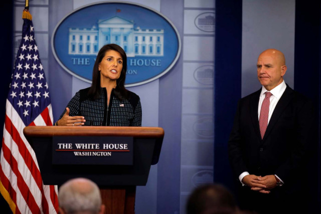 U.S. Ambassador to the UN, Nikki Haley speaks during the daily briefing accompanied by National Security Advisor H.R. McMaster at the White House in Washington, U.S., September 15, 2017. REUTERS/Carlos Barria