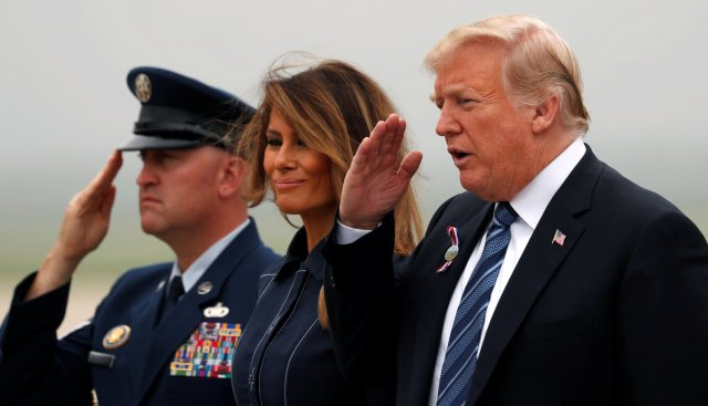 U.S. President Donald Trump and first lady Melania Trump arrive back at Joint Base Andrews in Maryland, U.S., September 11, 2018.  REUTERS/Kevin Lamarque