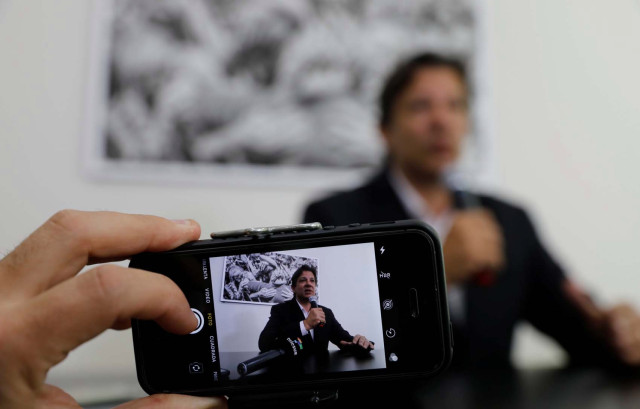 Workers Party Presidential candidate Fernando Haddad, attends an interview with foreign media in Sao Paulo, Brazil September 13, 2018. REUTERS/Nacho Doce