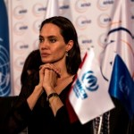 UN Special Envoy Angelina Jolie photographed at a press conference following her visit to the Midyat Refugee Camp in Midyat, Turkey. There are currently over 1.7 million Refugees registered in Turkey—the making Turkey the largest current recipient refugees in the world. ;