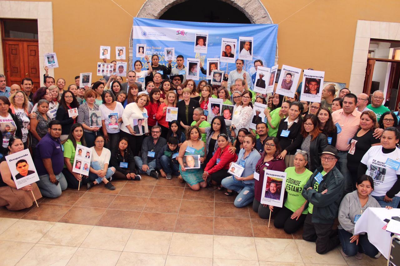 Reunión en Saltillo, Coahuila, con la Alta Comisionada de las Naciones Unidas para los Derechos Humanos, Michelle Bachelet, para denunciar y seguir visibilizando la problemática de las desapariciones en México. Foto: CEDEHM.