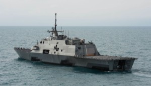 AT SEA, INDONESIA - JANUARY 07:  The littoral combat ship USS Fort Worth (LCS 3) operates on January 7, 2015 in the Java Sea. The U.S. Navy is supporting the Indonesian-led AirAsia flight QZ8501 search efforts. AirAsia announced that flight QZ8501 from Surabaya to Singapore, with 162 people on board, lost contact with air traffic control at 07:24 a.m. local time on December 28. (Photo by Mass Communication Specialist 2nd Class Antonio P. Turretto Ramos/U.S. Navy via Getty Images)